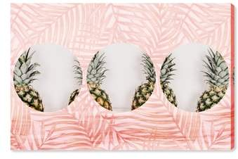 Pineapples & Leaves Canvas Wall Art