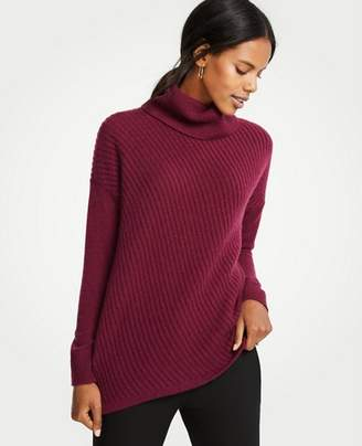 Ann Taylor Cashmere Diagonal Stitch Turtleneck