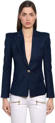Balmain Single Breasted Wool Twill Jacket