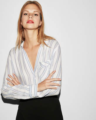 Express Striped One Pocket Popover Shirt