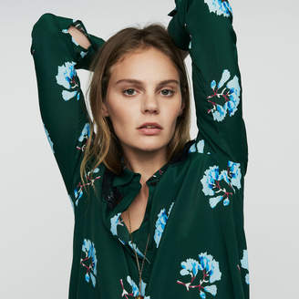 Maje Printed blouse with lace