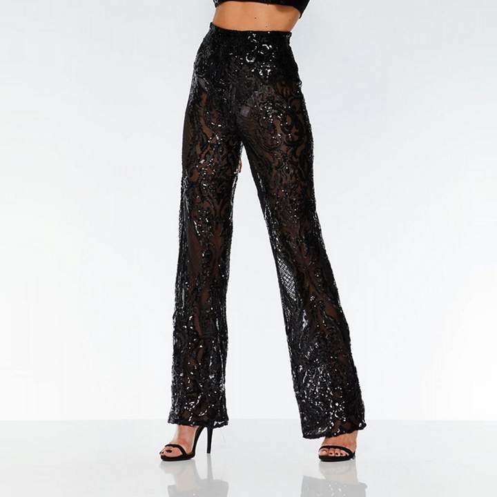 Towie Black Sequin Palazzo Trousers