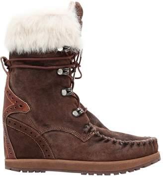 EL VAQUERO 70mm Leia Lapin Fur & Suede Ankle Boots