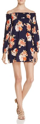 Band of Gypsies Smocked Off-the-Shoulder Floral Dress $69 thestylecure.com