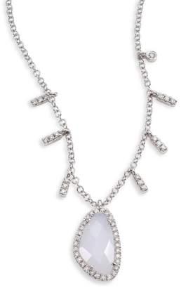 Meira T Diamond, Blue Opal & 14K White Gold Pendant Necklace
