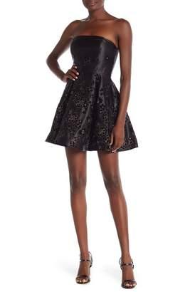 Jump Strapless Glitter Floral Dress
