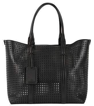 HUGO BOSS Perforated Italian leather tote bag