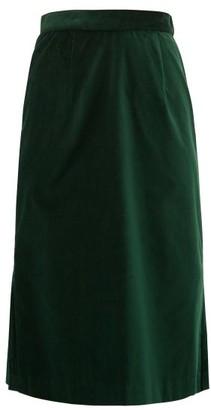 Batsheva High Rise Pleated Velvet Skirt - Womens - Dark Green