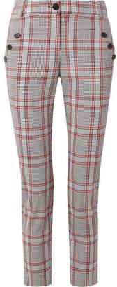 Veronica Beard Farrow Checked Cotton-blend Slim-leg Pants