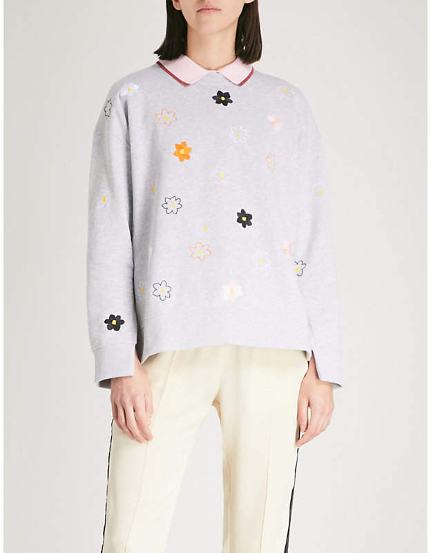 Floral-embroidered cotton-jersey sweatshirt