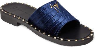 Giuseppe Zanotti Goya Velour Studded Slide Sandals
