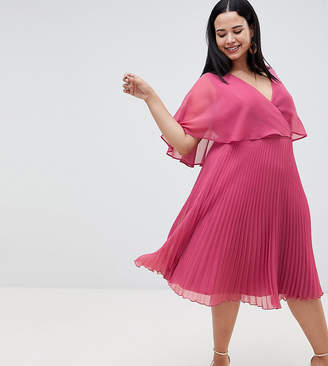 Asos DESIGN Curve flutter sleeve midi dress with pleat skirt