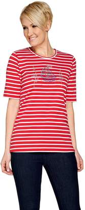 Factory Quacker Nautical Novelty Striped Elbow Sleeve T-shirt