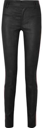 Haider Ackermann Grosgrain-trimmed Brushed-leather Skinny Pants - Black