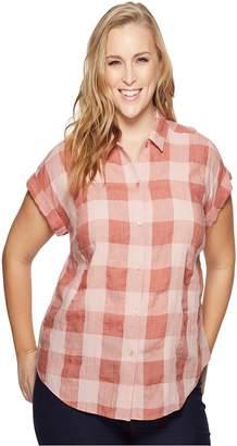 Lucky Brand Plus Size Plaid Short Sleeve Top Women's Short Sleeve Button Up