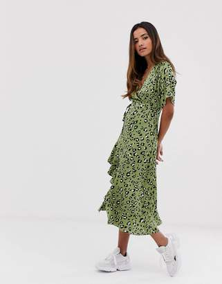 Liquorish wrap front long midi dress in leopard print