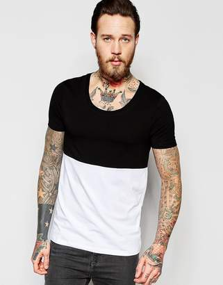 Asos Muscle T-Shirt With Scoop Neck And Cut And Sew Panel