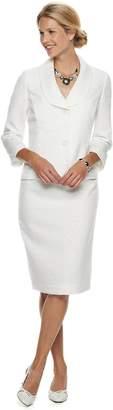 Le Suit Women's Jacquard Jacket & Skirt Suit