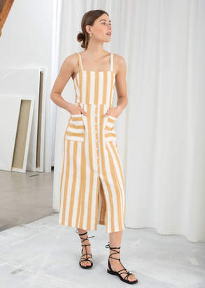 And other stories Striped Cotton Linen Midi Dress