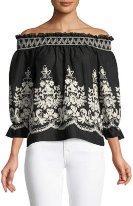 Metric Knits Embroidered Off-The-Shoulder Blouse