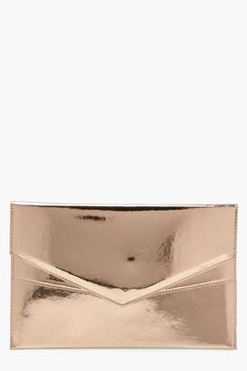 boohoo Amy Double Layer Holographic Envelope Clutch