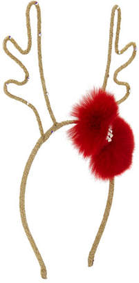 Bari Lynn Girls' Glittered Reindeer Antlers Headband w/ Fur Bow