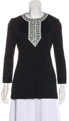 Tory Burch Embellished Embroidered Silk Tunic