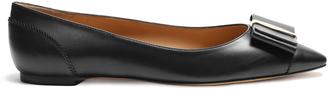 SALVATORE FERRAGAMO Edina point-toe leather flats $431 thestylecure.com