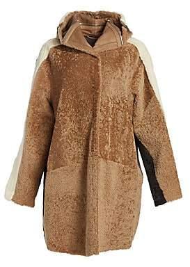 The Fur Salon The Fur Salon Women's Oversized Shearling& Mink Fur Coat
