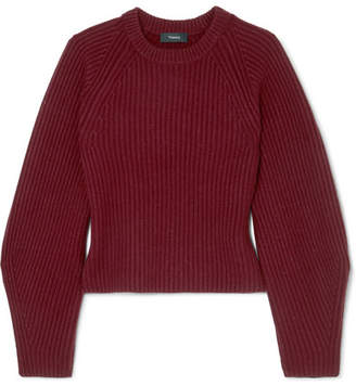 Theory Huron Ribbed-knit Merino Wool Sweater - Dark purple