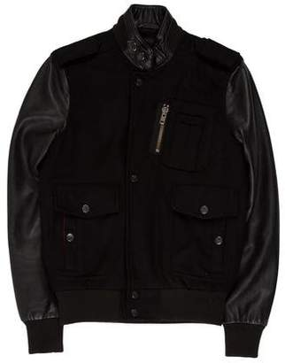Surface to Air Leather-Trimmed Wool Jacket