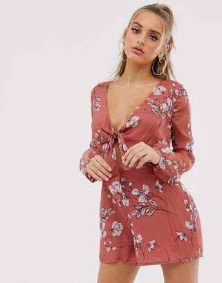 b521479878 The Jetset Diaries Oasis Floral Tie Front Playsuit