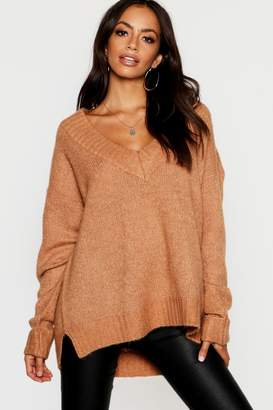 boohoo V Neck Jumper With Ribbed Trim Cuff
