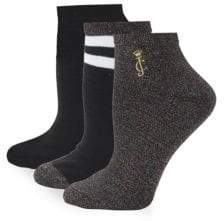 Juicy Couture Three-Pack Sparkle Ankle Socks