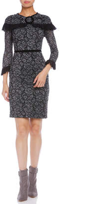 Paola Frani (パオラ フラーニ) - PAOLA FRANI チュールフリル 花柄 七分袖ドレス ブラックマルチ 42