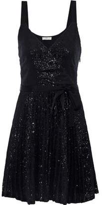 Joie Itara Belted Sequined Mesh Mini Dress