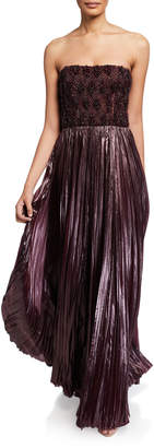 J. Mendel Embroidered Bustier Gown w/ Pleated Skirt