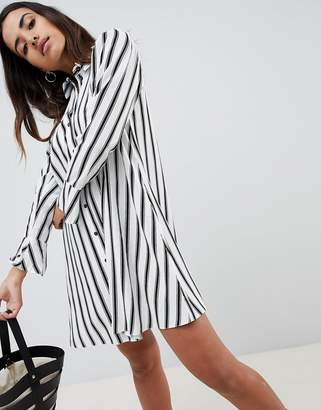 Asos Design DESIGN stripe long sleeve shirt mini dress