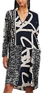 Zero Maria Cornejo Women's Tero Mixed-Print Silk Shift Dress - Ink Jet, greige