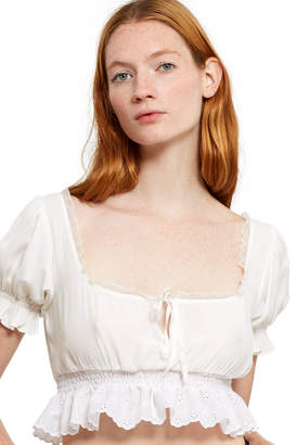 Daisy Broderie Frill Top