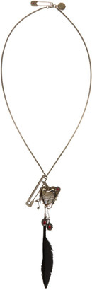 Alexander McQueen Silver Heart & Feather Chain Pendant Brooch $1,145 thestylecure.com
