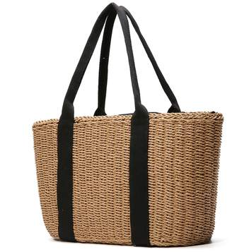 Off-White Women Shoulder Bag, Tezoo Popular Handbag and Tote for Beach Travel and Everyday Use, Woven Straw Braid, with Top Handle and Zipper Pocket, and