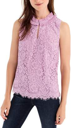 J.Crew Lace Ruffle Neck Top