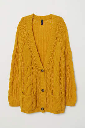 H&M Cable-knit Cardigan - Yellow
