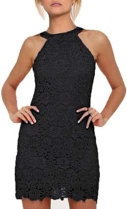 CAISHA Women's Halter Neck Wedding Dress Midi Lace Party Cocktail Dress XXL