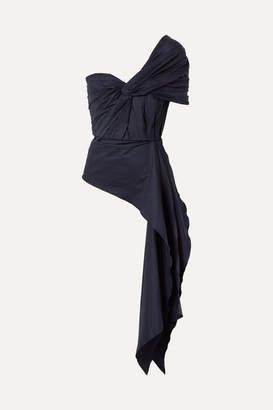 Johanna Ortiz The Art Of Dancing One-shoulder Knotted Cotton-blend Poplin Top - Navy