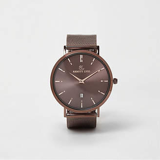 River Island Copper brown Abbott Lyon mesh strap watch
