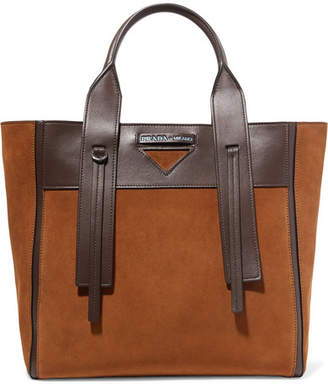 Prada Ouverture Leather-trimmed Suede Tote - Camel