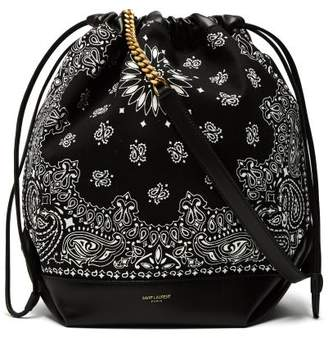 Saint Laurent Teddy Bandana Print Drawstring Bucket Bag - Womens - Black White