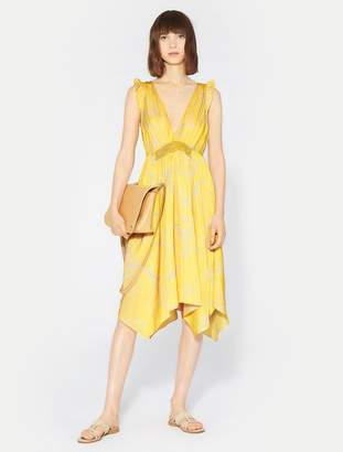 Halston Ruffle V Neck Flowy Dress